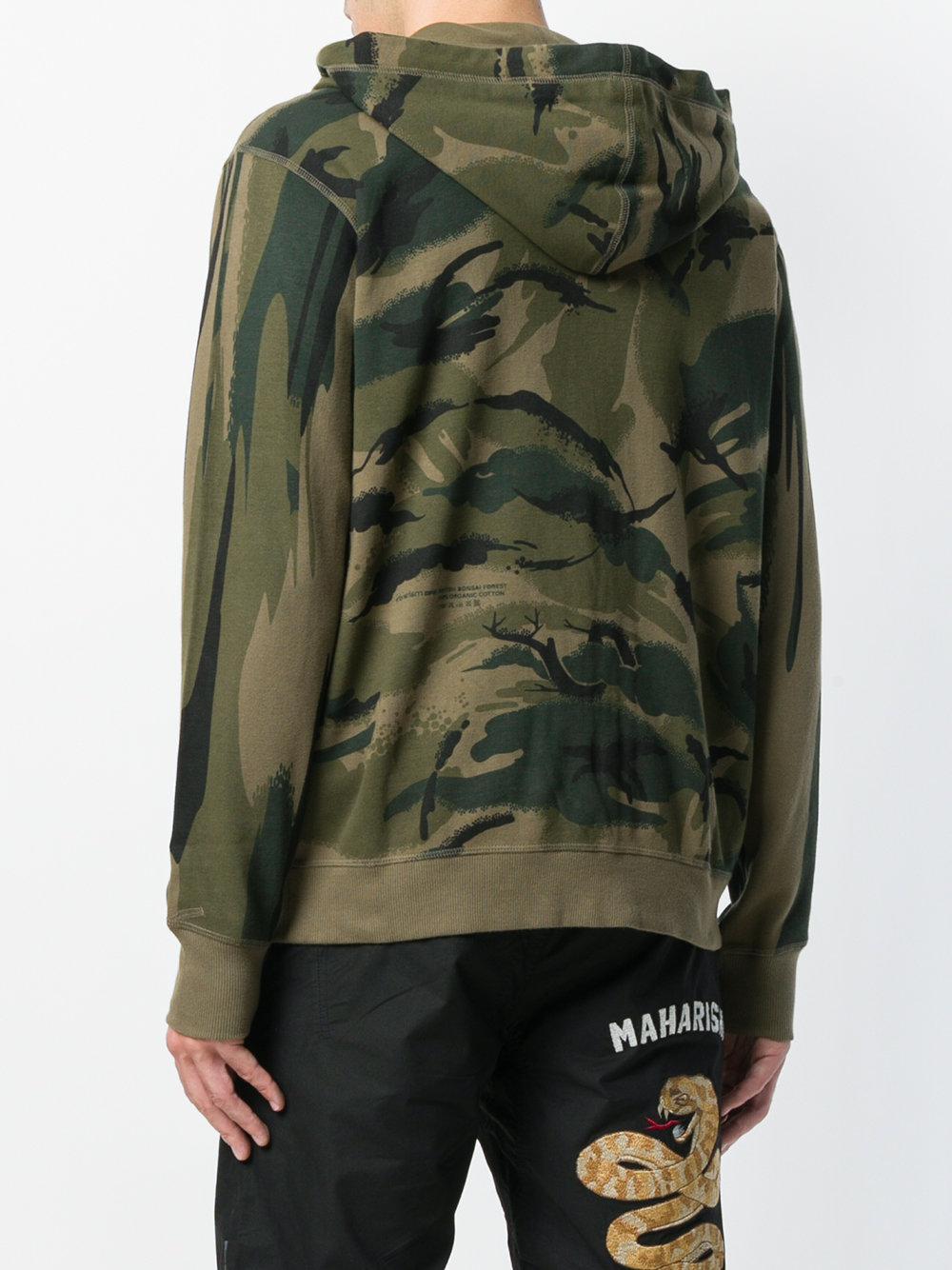 maharishi camouflage print zip up hoodie - Green