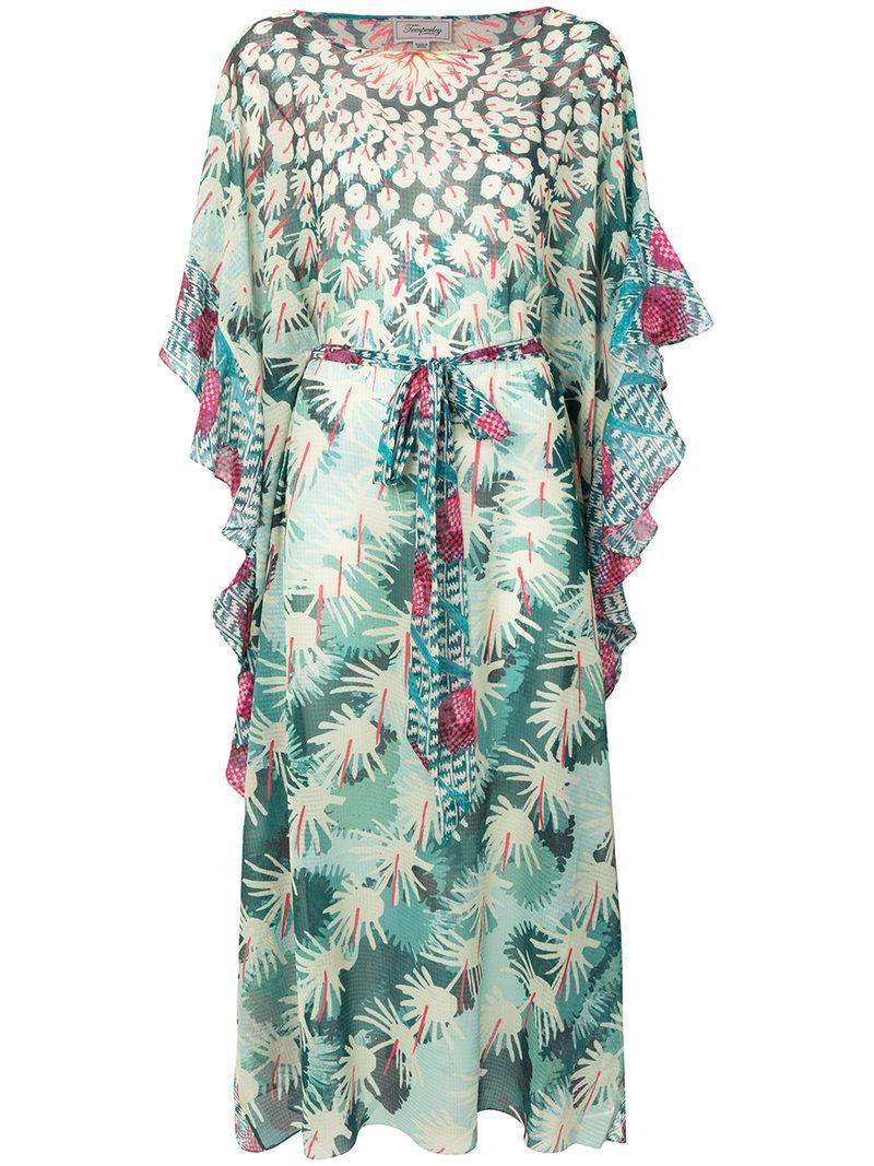 Printed Voile Kaftan - Turquoise Temperley London 3TQLZmI