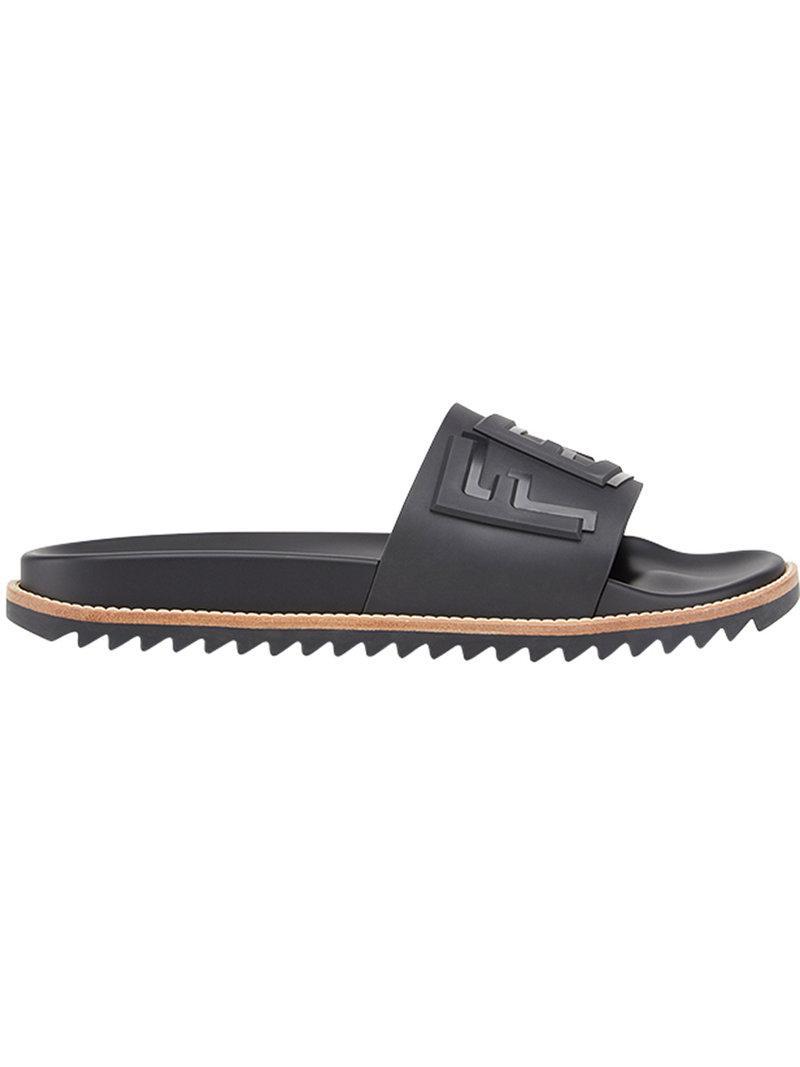 6d2ace7b537a01 Fendi Logo Embossed Slide Sandals in Black for Men - Lyst