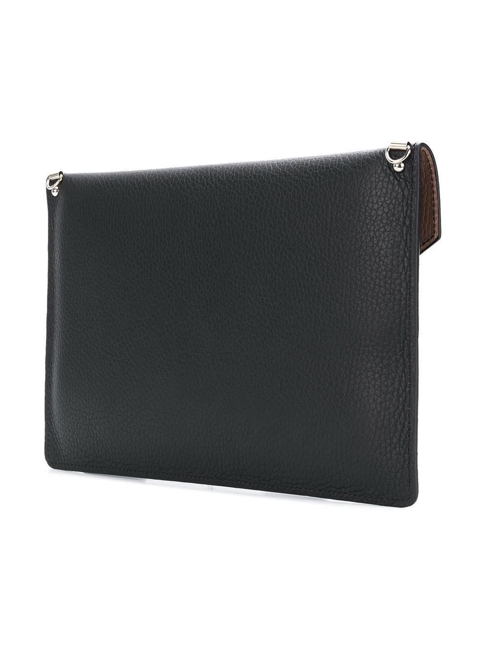 Lancaster Leather Foldover Envelope Crossbody Bag in Black