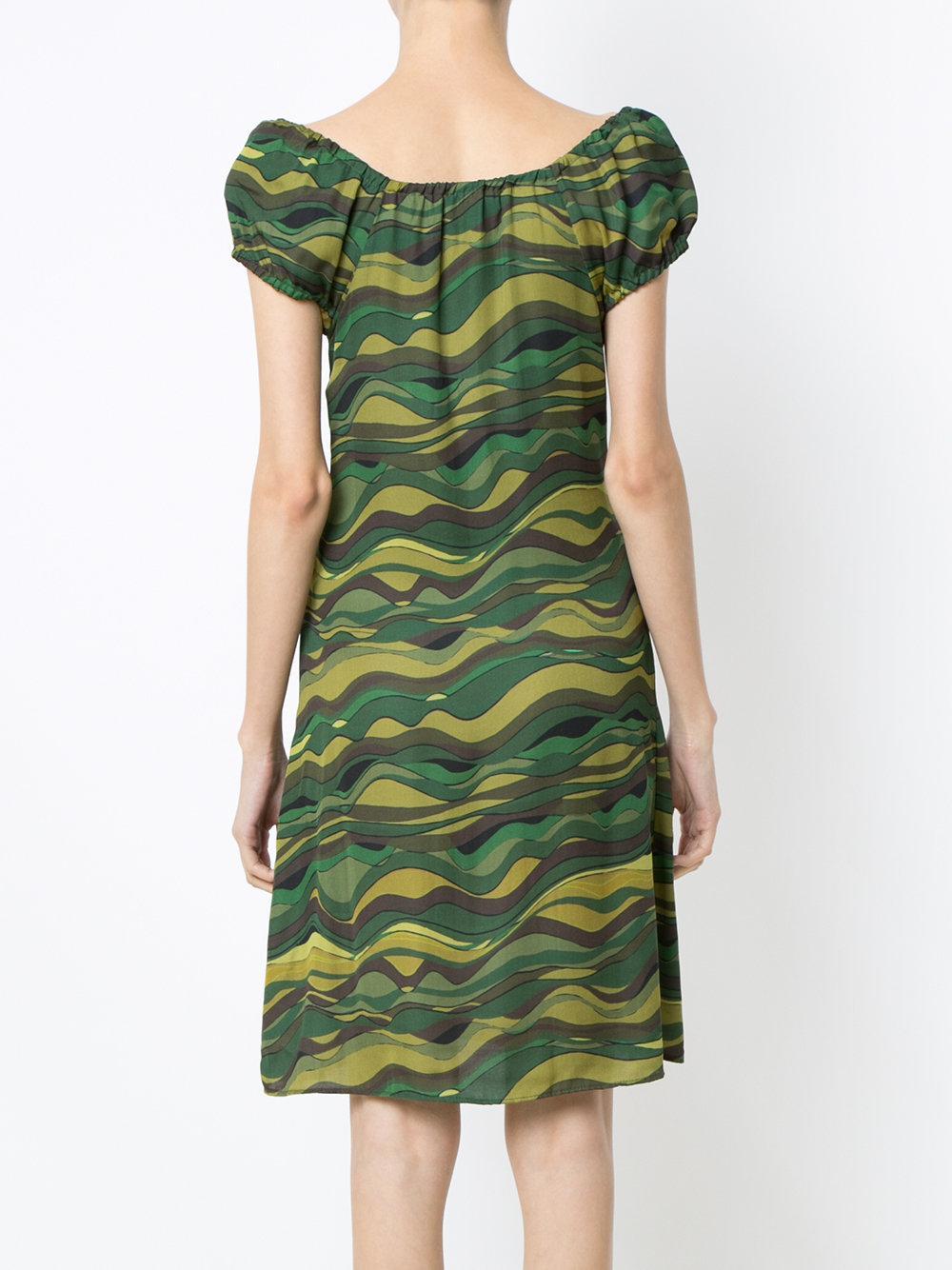 Amir Slama Wave Print Dress in Green