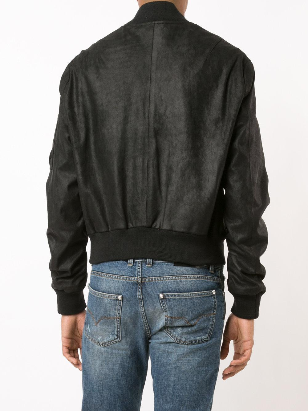 RTA Leather Chained Zipper Bomber Jacket in Black for Men