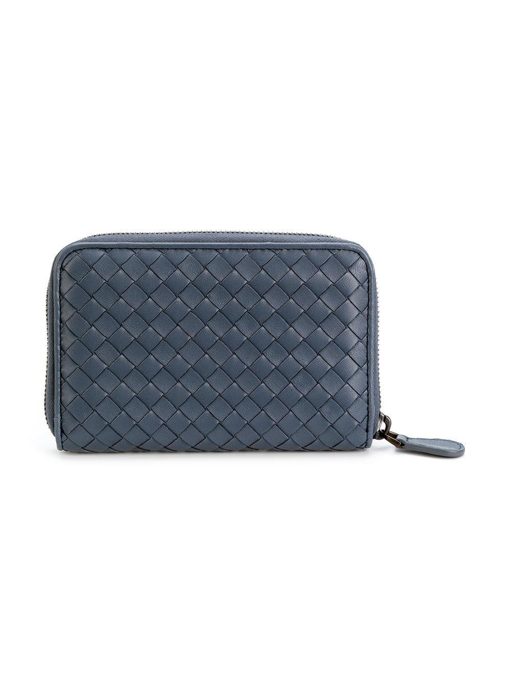 Lyst Bottega Veneta Woven Wallet In Blue