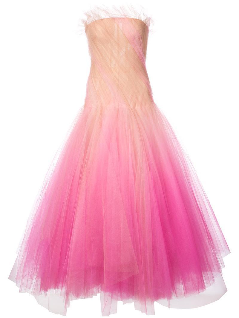 Lyst - Oscar De La Renta Tulle Ball Gown in Pink