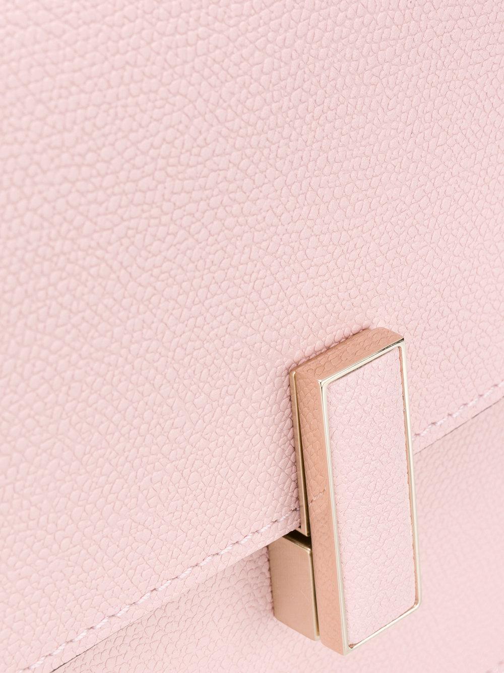 Valextra Leather Foldover Cross-body Satchel in Pink & Purple (Pink)