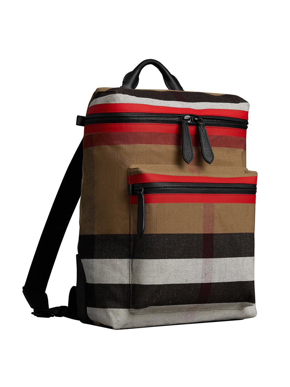 Lyst - Burberry Zip-top Leather Trim Canvas Check Backpack in Red 3478b19fb1c0c