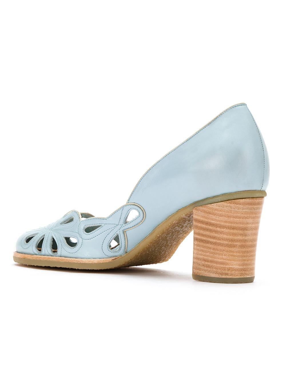 Zapatos de tacón con detalles de cortes Sarah Chofakian de Cuero de color Azul