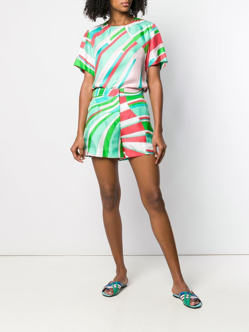 7f3758d1b5a5 Lyst - Emilio Pucci Shell Print Silk Shorts in Pink