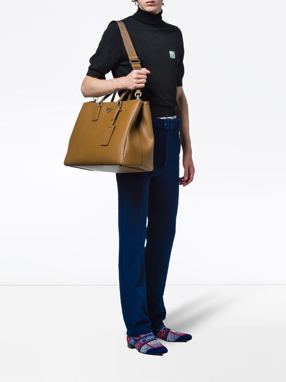 74402befe04e ... hot prada brown saffiano leather tote bag for men lyst. view fullscreen  b6669 f3b39