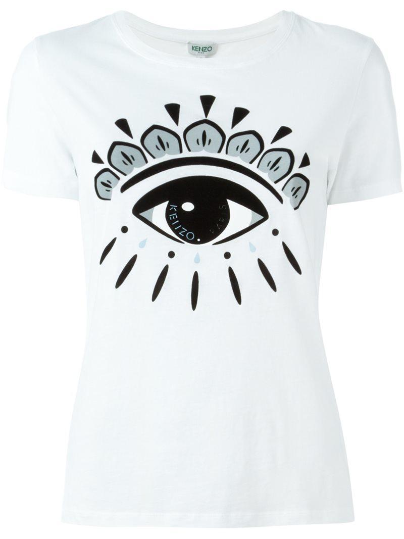 8e9c74a63d KENZO 'eye' T-shirt in White - Lyst