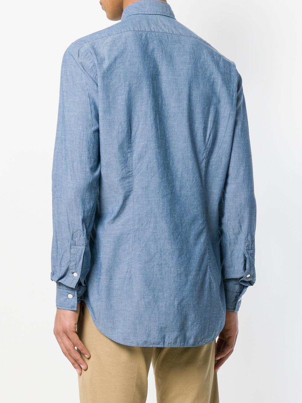Bagutta Linen Classic Shirt in Blue for Men