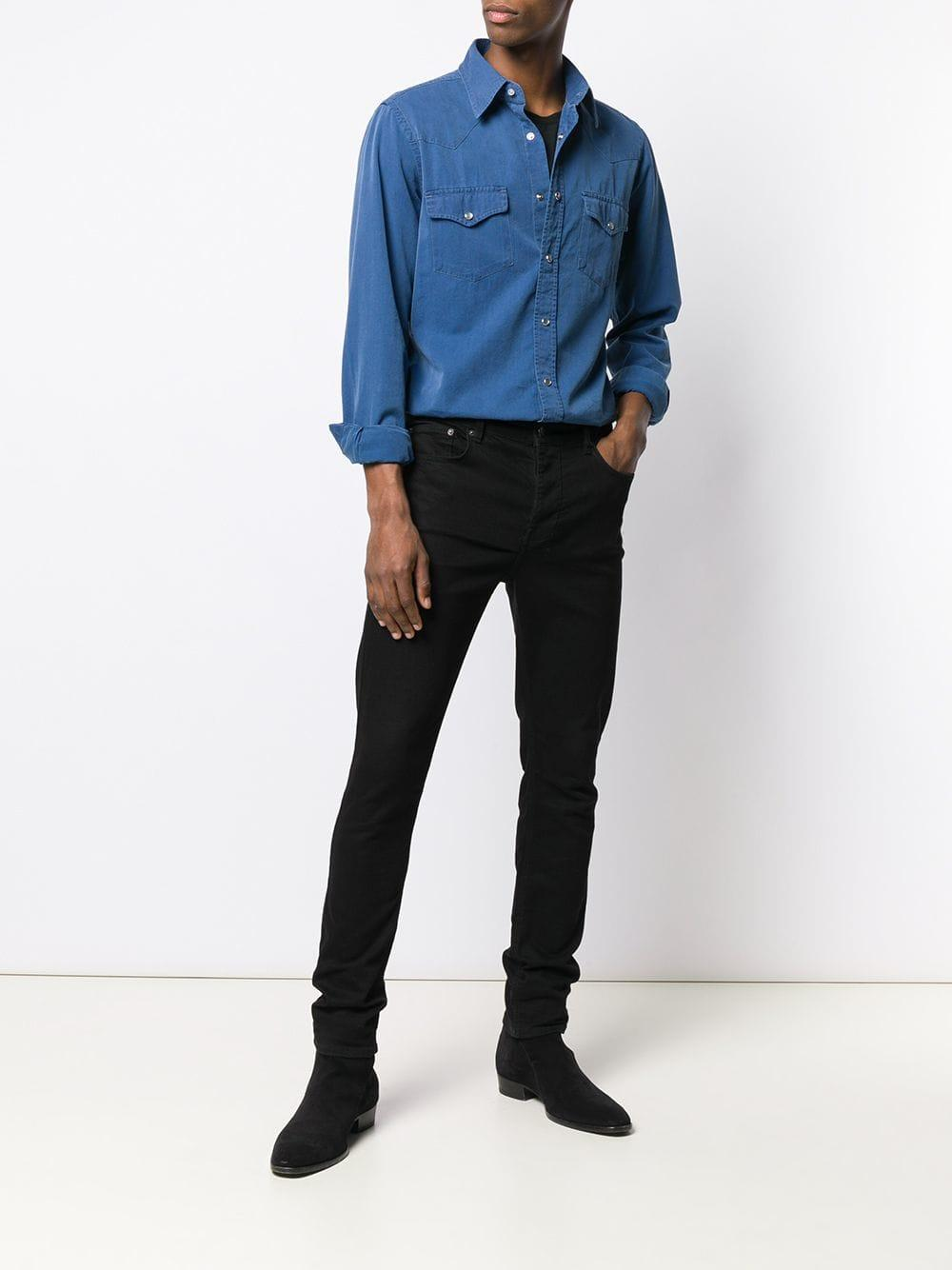 1aa6fbf6e82 Lyst - Tom Ford Press Stud Denim Shirt in Blue for Men