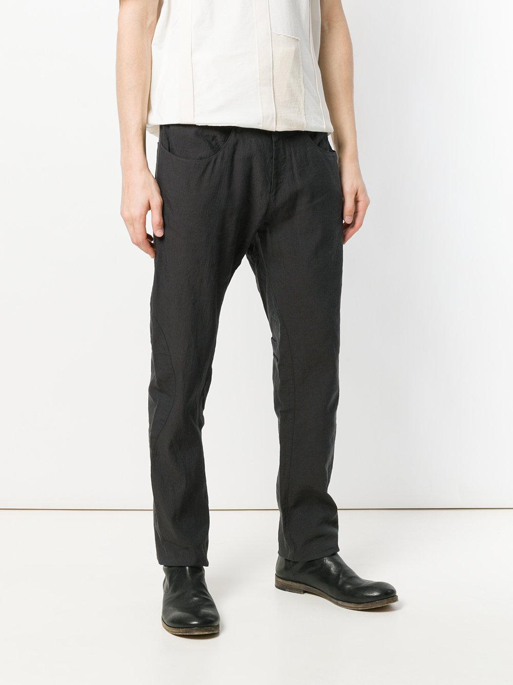 Ziggy Chen Cotton Straight Leg Trousers in Grey (Grey) for Men