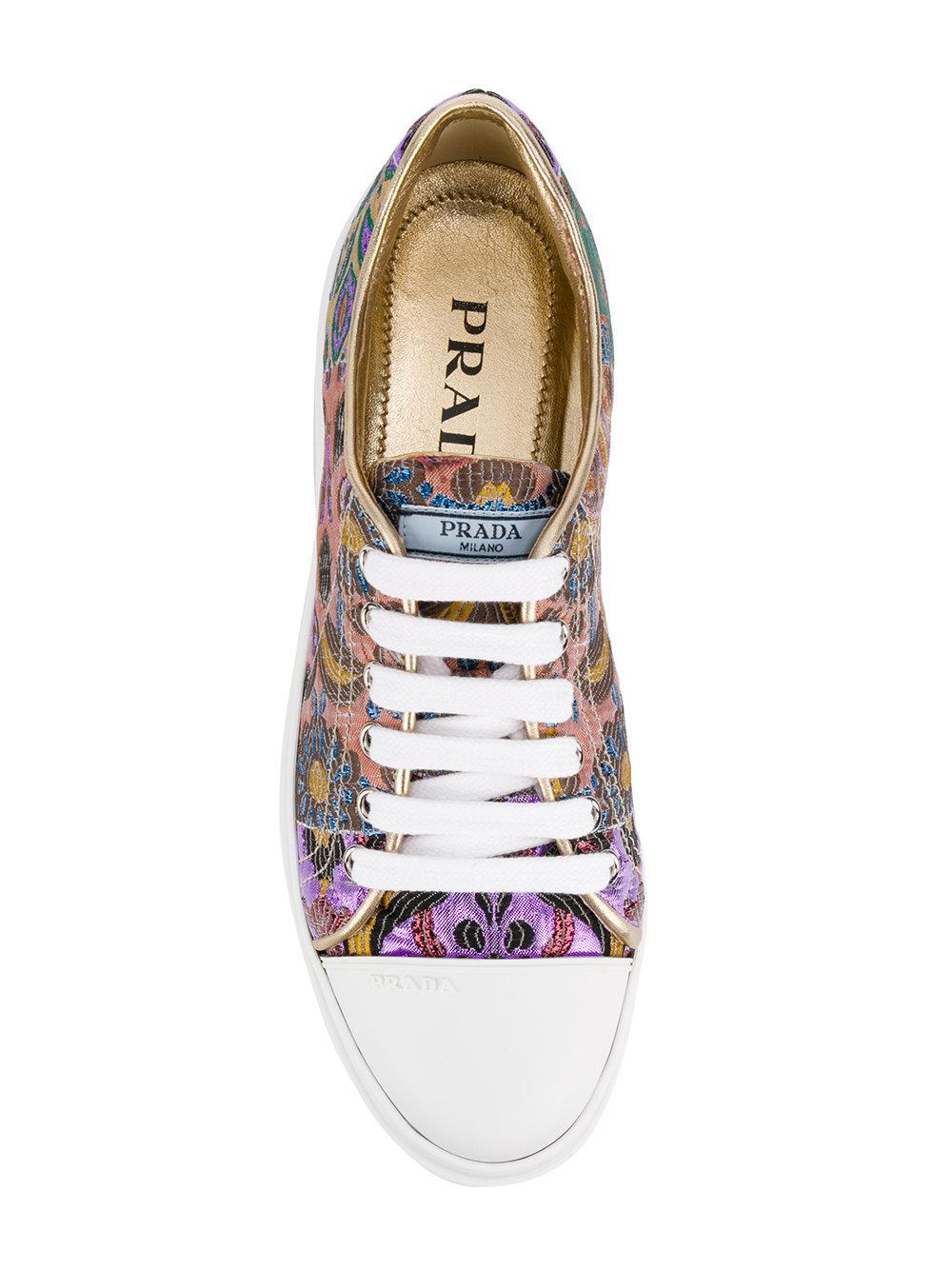 Prada Leather Platform Soled Sneakers