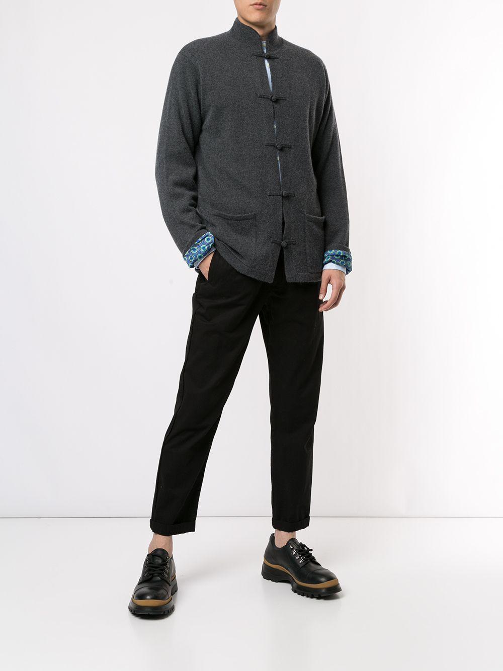 Shanghai Tang Wol Vest Met Ronde Opstaande Kraag in het Grijs voor heren