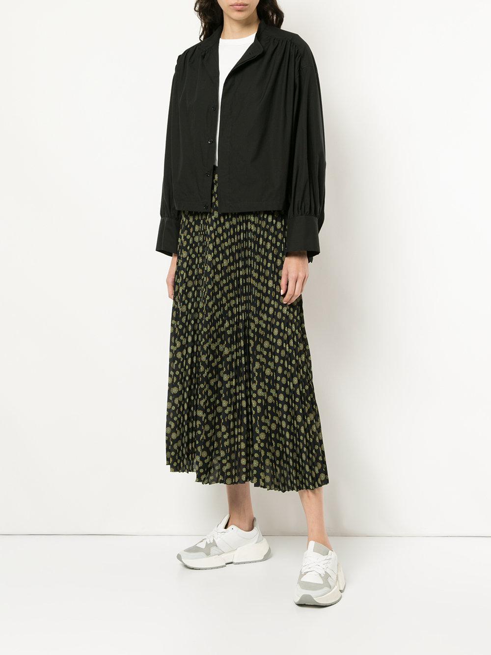 Astraet Cotton Mandarin Collar Boxy Shirt in Black