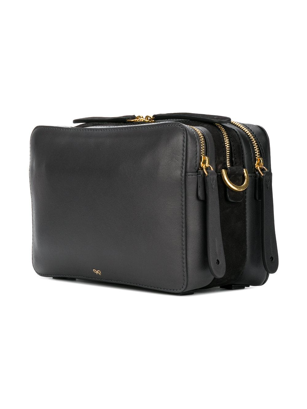 Anya Hindmarch Leather Stack Cross Body Bag in Black