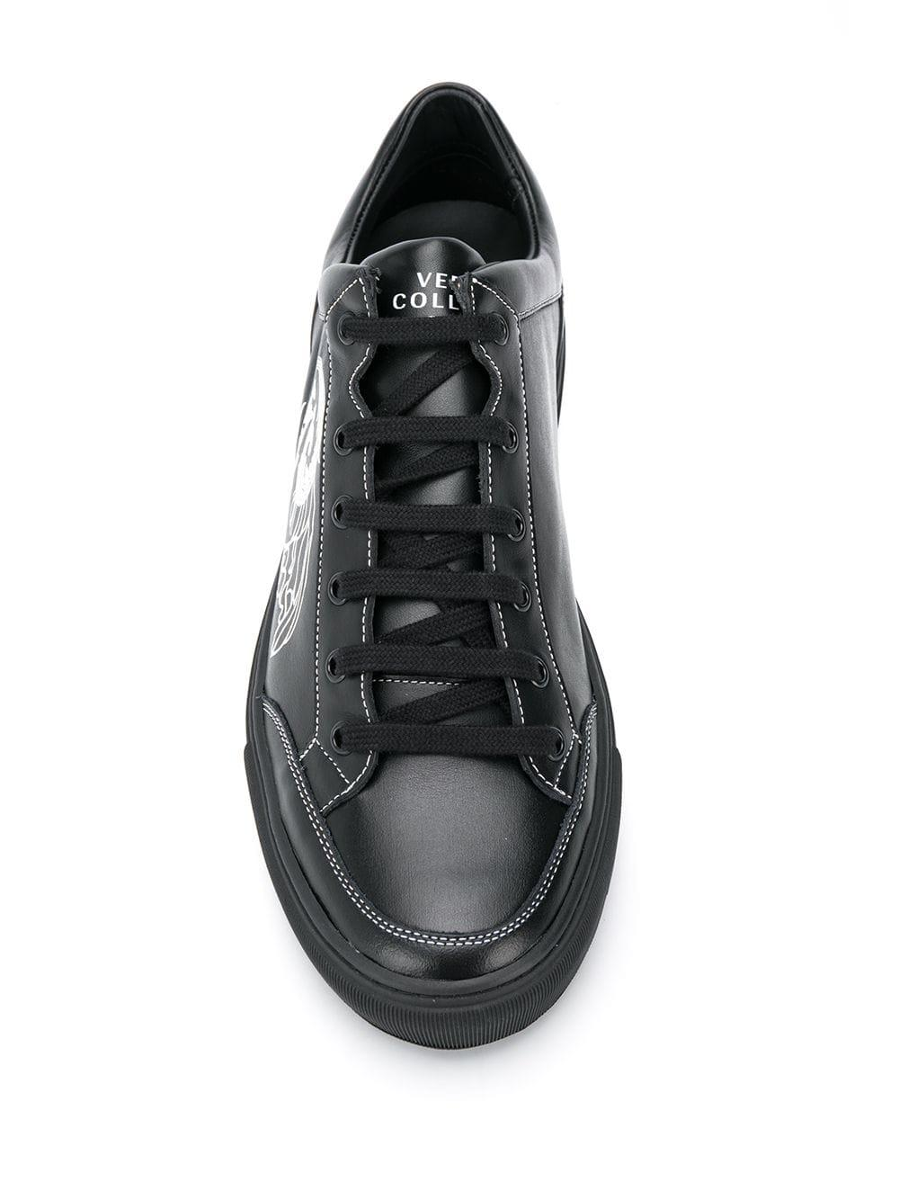 Zapatillas con logo estampado Versace de Cuero de color Negro para hombre