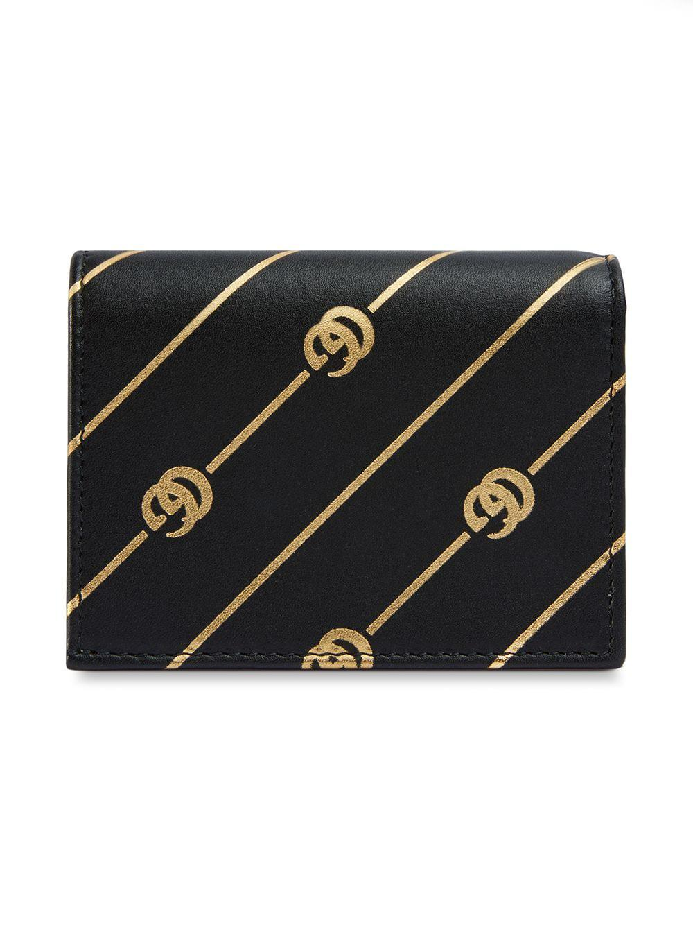 8eafaed88c5 Gucci - Black Printed Leather Cardholder - Lyst. View fullscreen