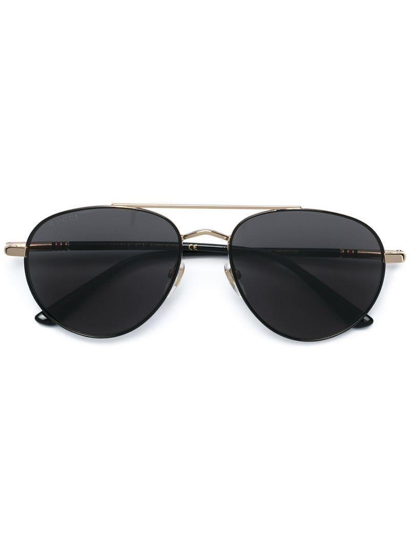 a3fa425e059 Gucci Aviator Sunglasses in Black for Men - Lyst