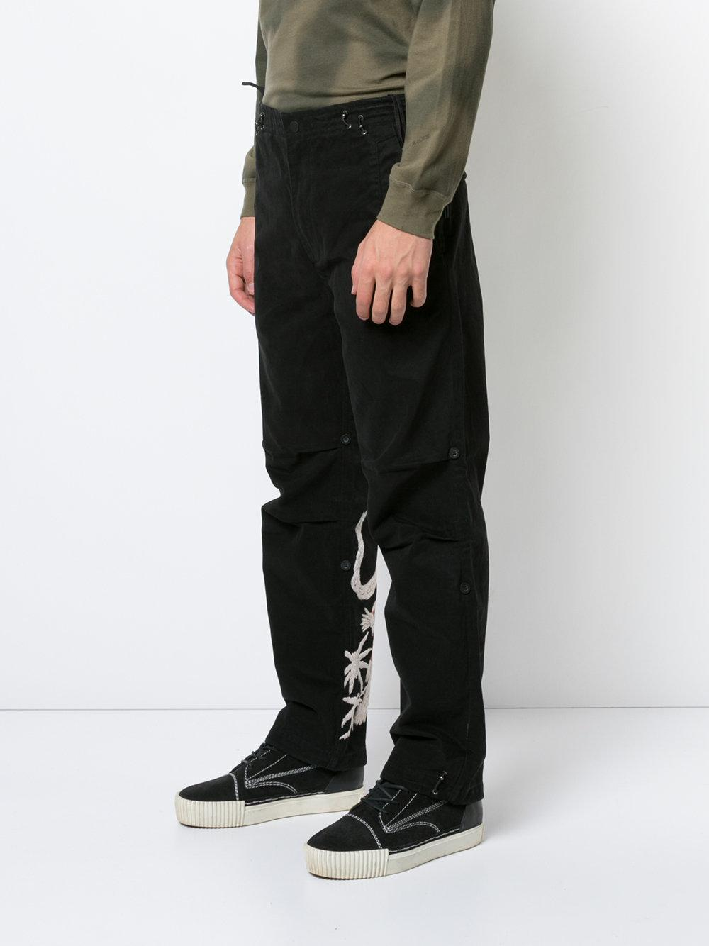 Maharishi Cotton Embroidered Back Trousers in Black for Men