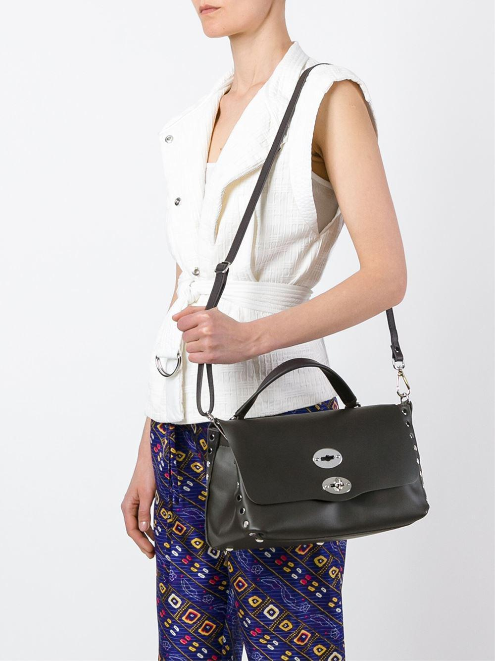 Zanellato Leather Flap Closure Tote in Brown