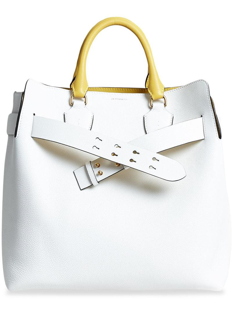 9dac889ea9fe Lyst - Burberry The Large Leather Belt Bag in White