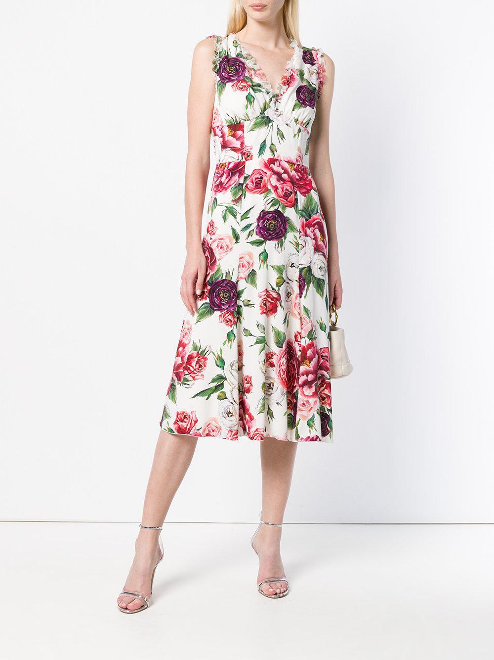 fc659b3f9c5 Dolce   Gabbana - White Rose Printed Flared Dress - Lyst. View fullscreen