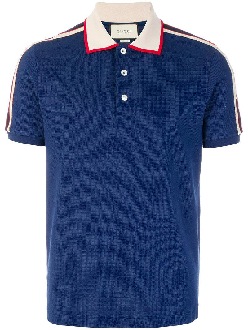 0160ac63e75 Gucci Logo Polo Shirt in Blue for Men - Lyst