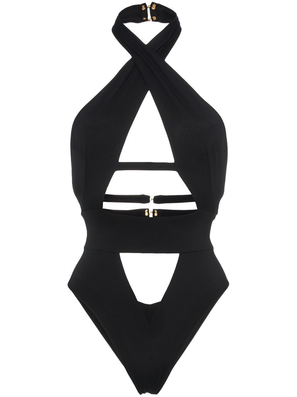 ea795348e831 Bañador Anja con cuello halter de mujer de color negro