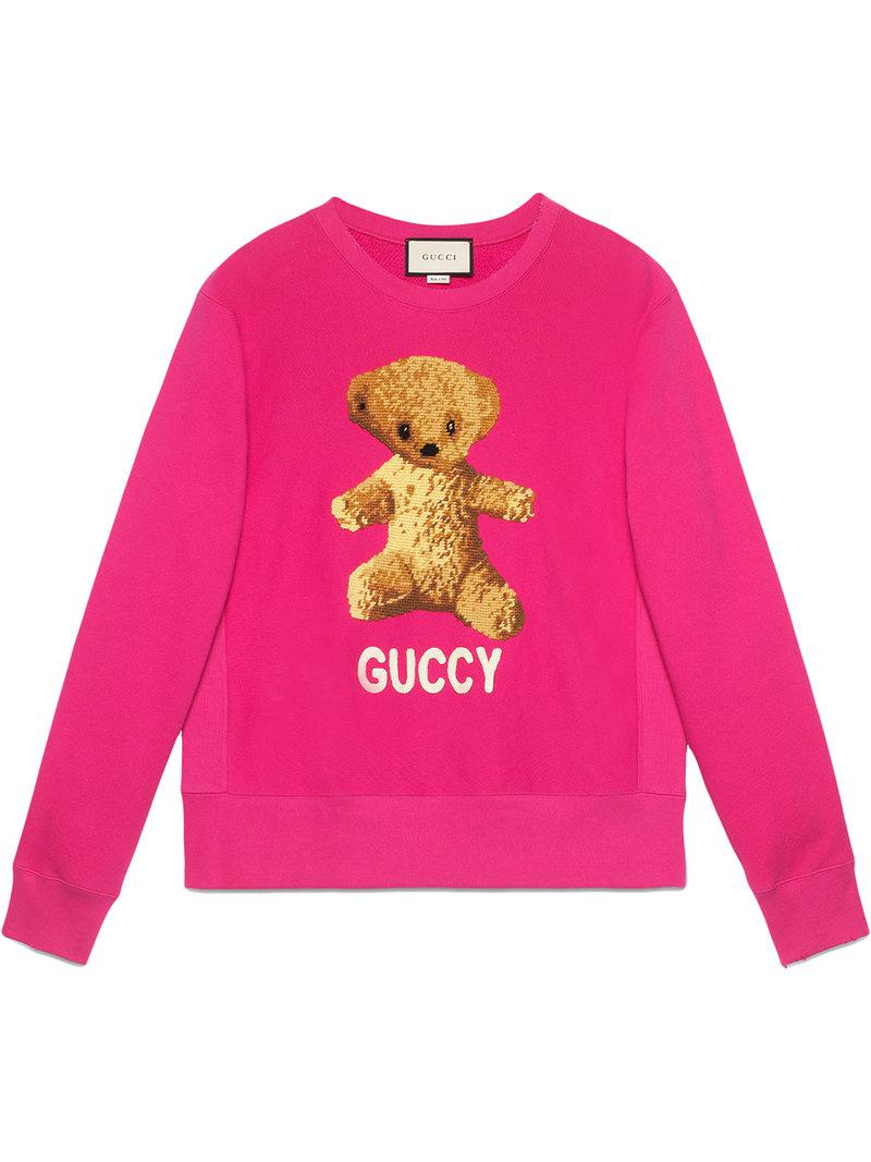 Lyst - Gucci Cotton Sweatshirt With Teddy Bear in Pink
