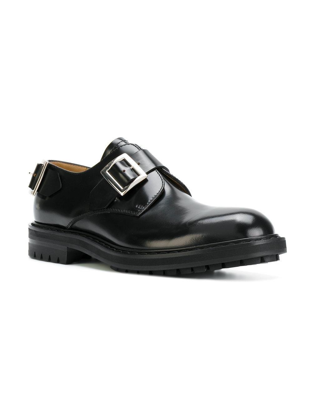 Alexander McQueen Leather Buckle Detail Slip On Shoes in Black for Men