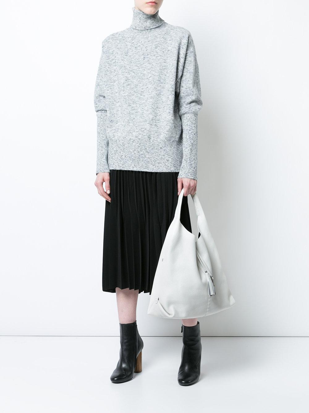 Henry Beguelin Leather Canota Tote Bag in White