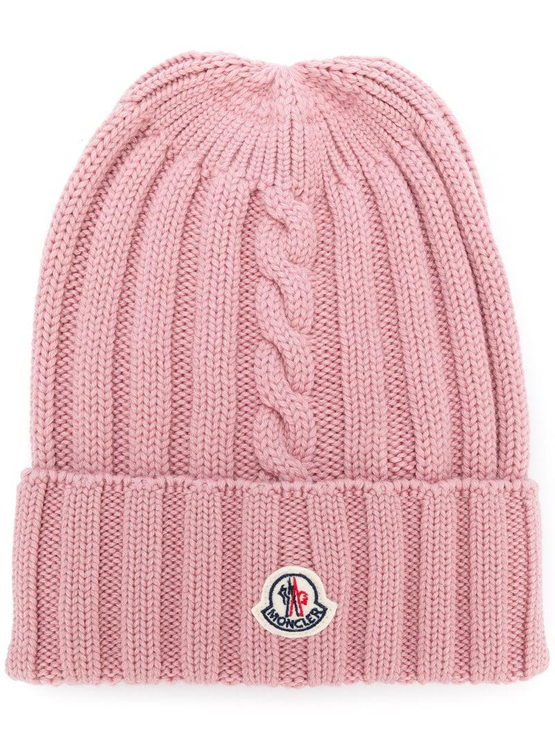 1e270962d2d14 Moncler Cable Knit Beanie in Pink - Lyst