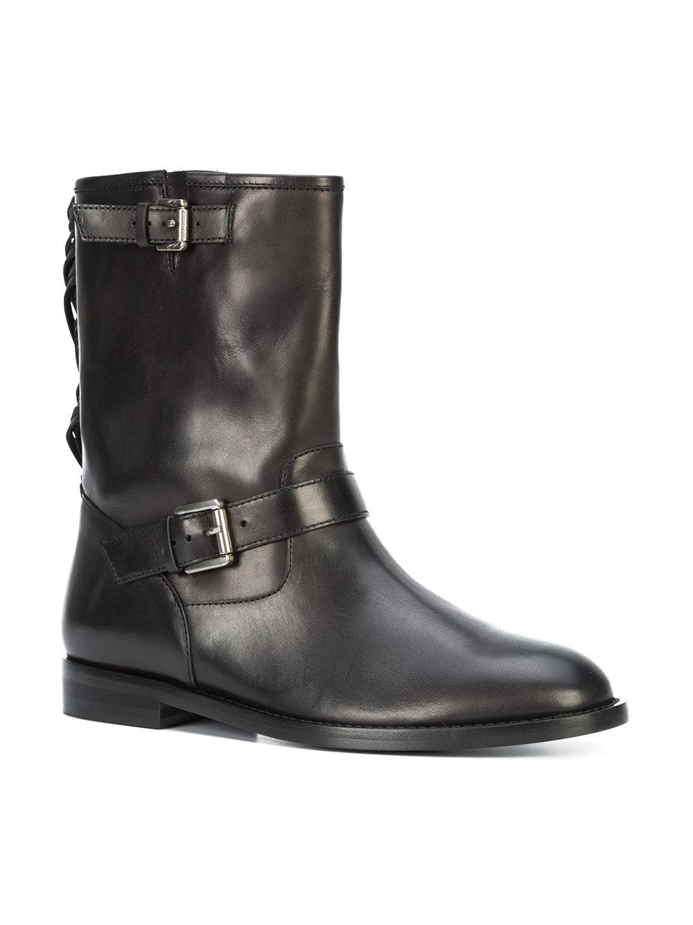 Michael Kors Leather Tassel Ankle Boots in Black
