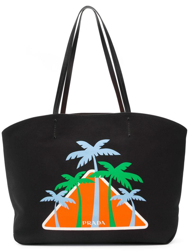 46240fc50634 Prada - Black Palms Logo Tote Bag - Lyst. View fullscreen