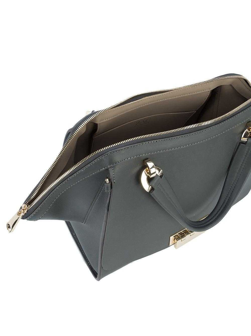 Zac Zac Posen Leather Large Tote Bag in Grey (Grey)