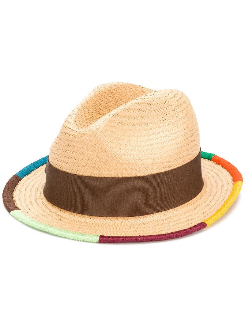 9feb04585985e Lyst - Paul Smith Artist Stripe Border Plaited Hat in Natural for Men