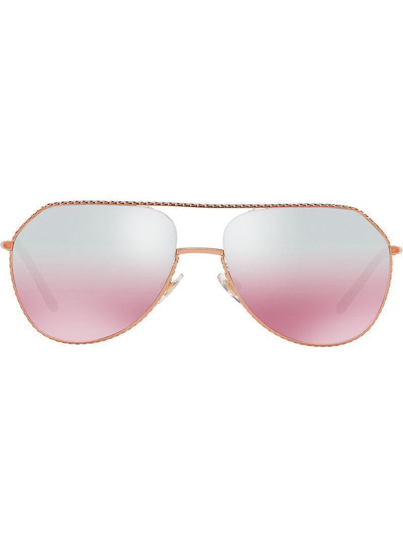 3e16f867467 Dolce   Gabbana Mirrored Aviators in Metallic - Lyst