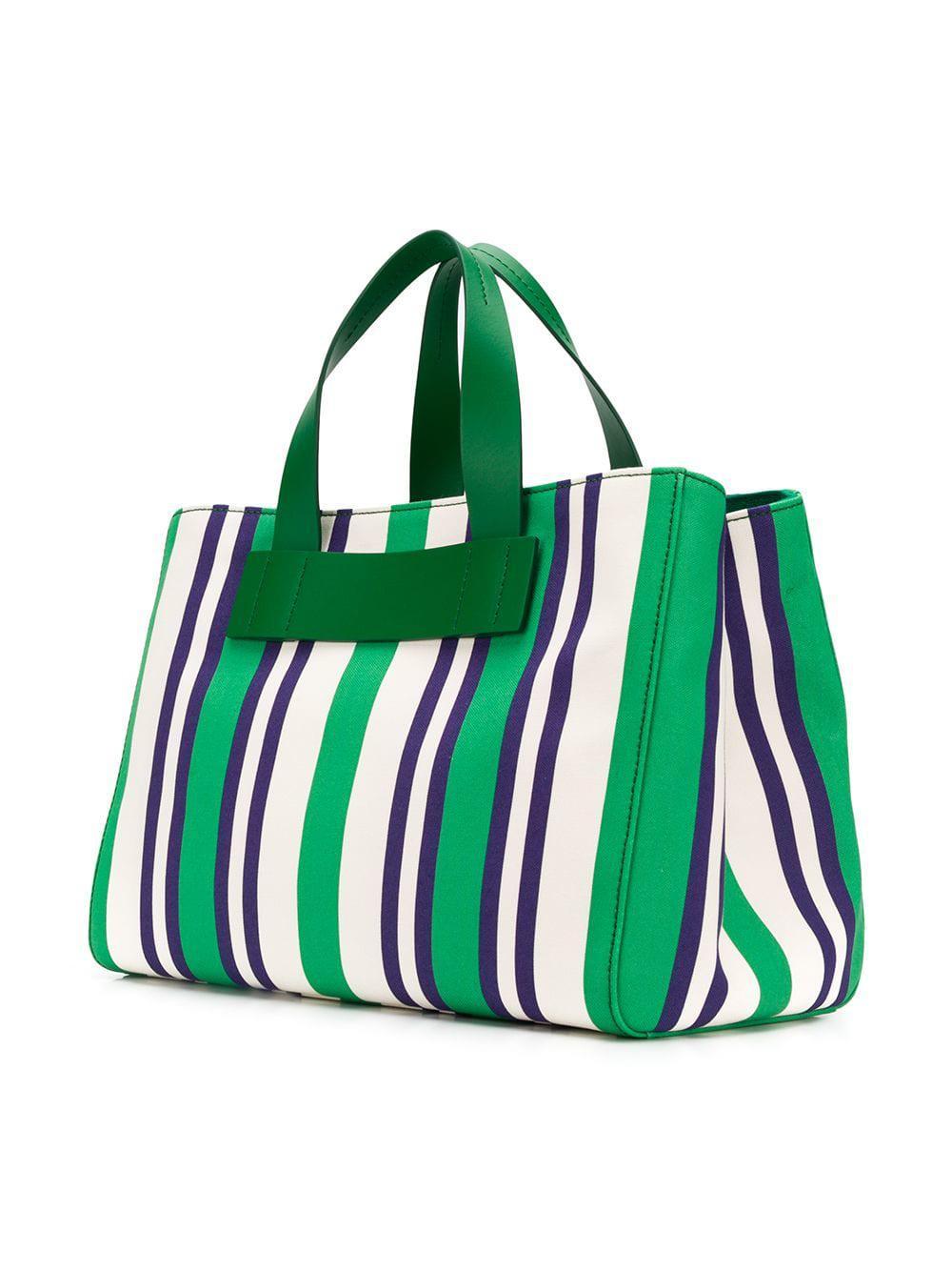 5852b2a6f61d Lyst - Miu Miu Striped Canvas Shopper in Green
