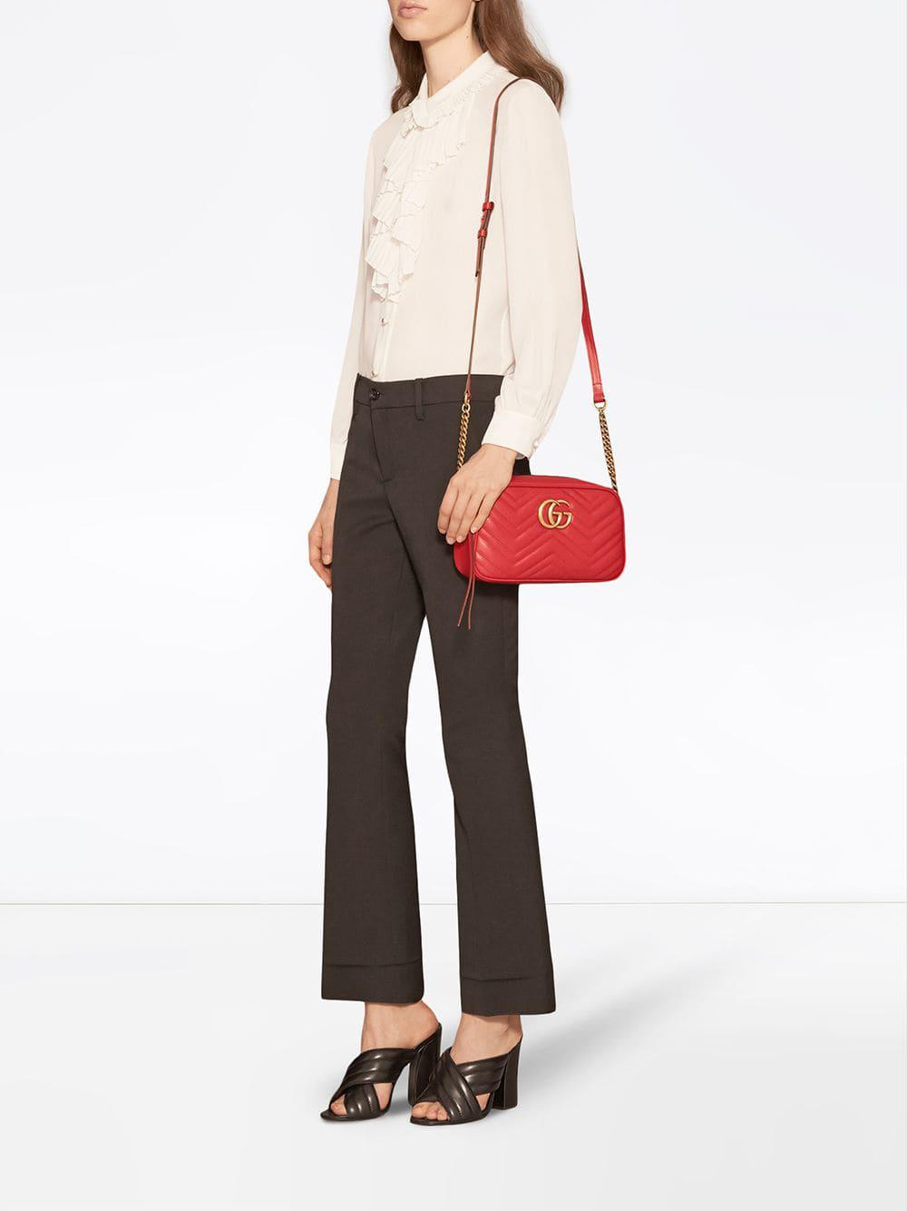 370fe4356305 Gucci - Red GG Marmont Small Matelassé Shoulder Bag - Lyst. View fullscreen