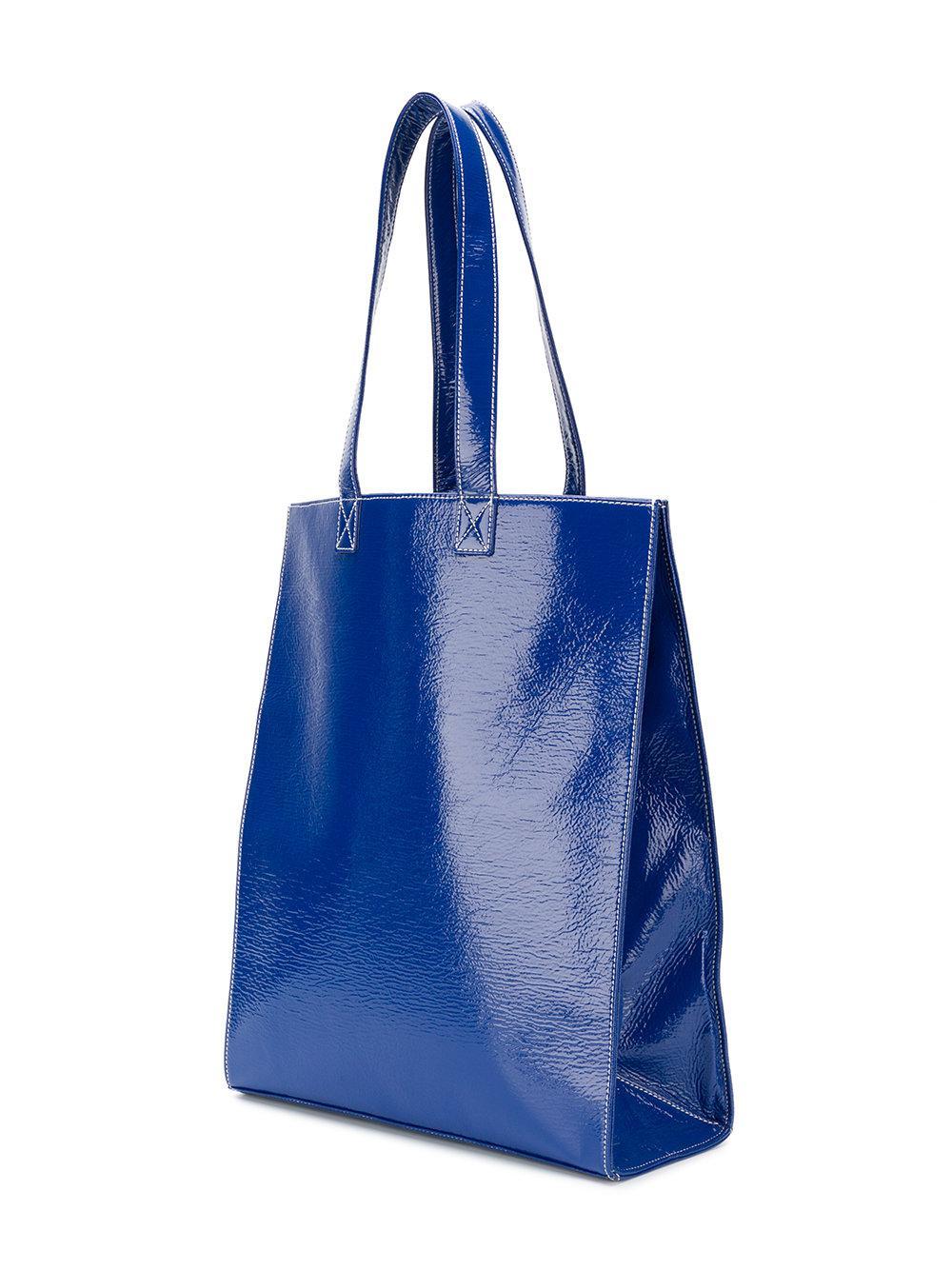 Courreges Medium Logo Front Tote Bag in Blue
