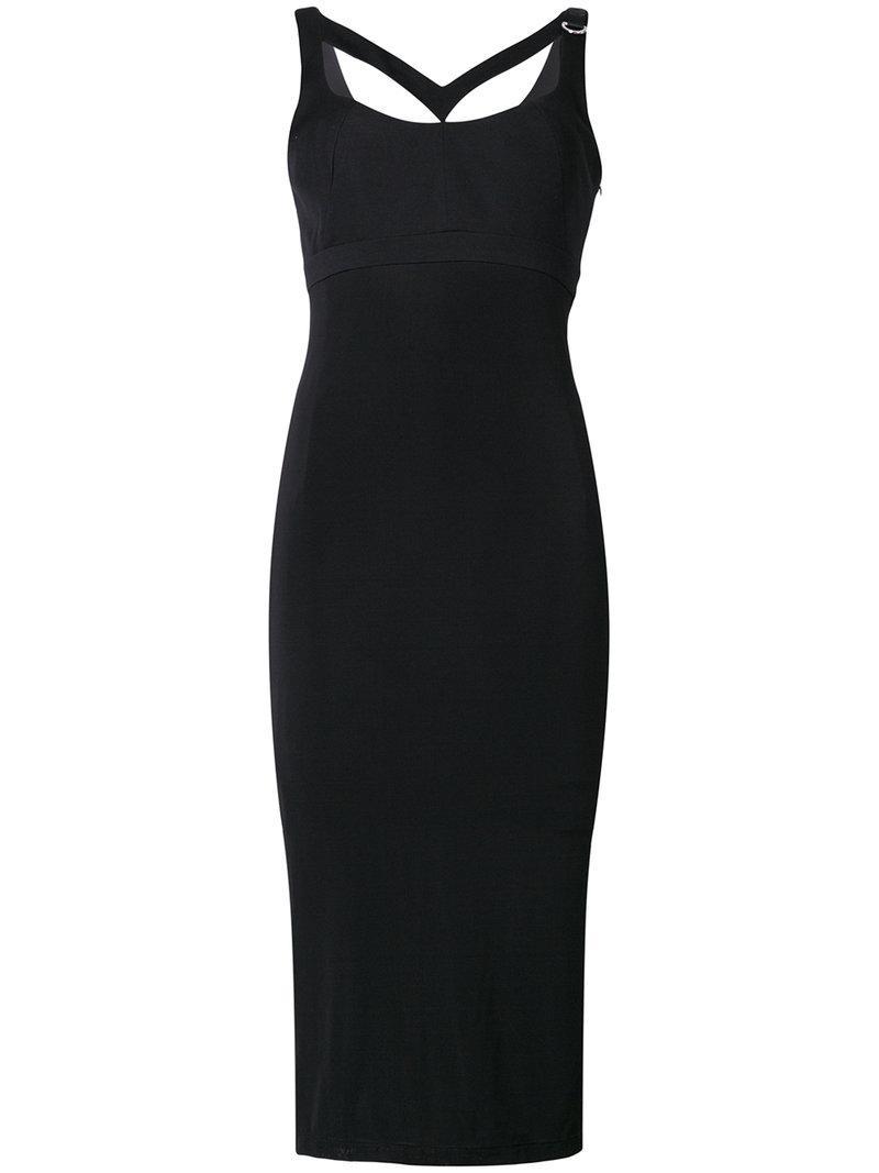 3ff0367c40c Versace Jeans Buckle-strap Midi Dress in Black - Lyst