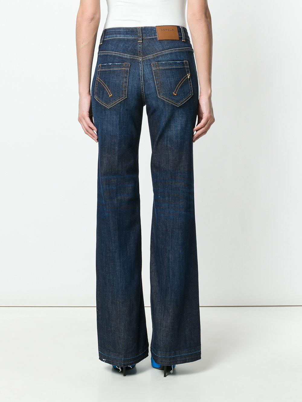 Dondup Denim Faded Distressed Detail Flared Jeans in Blue