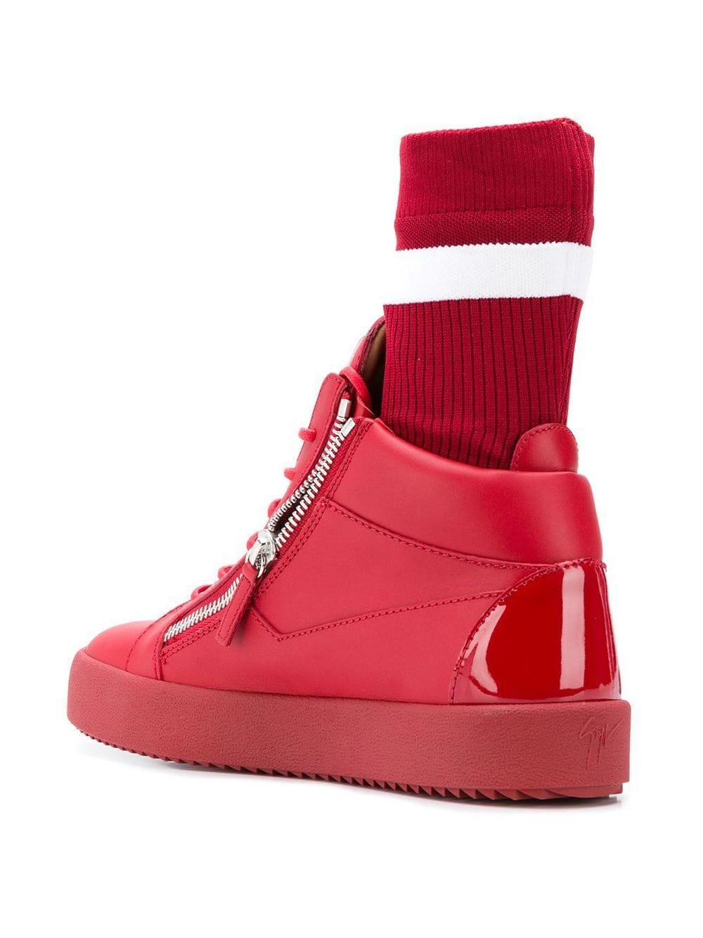 Giuseppe Zanotti Leer Kriss Sneakers in het Rood voor heren