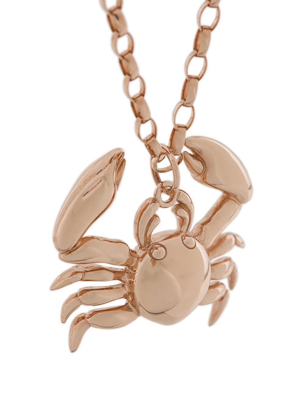 True Rocks Crab Pendant Necklace in Metallic