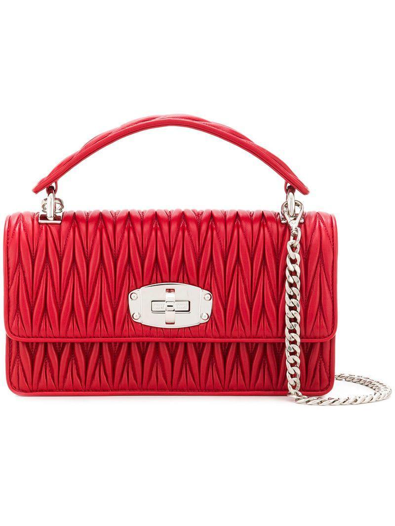 fe609d505b4f Miu Miu Quilted Shoulder Bag in Red - Lyst