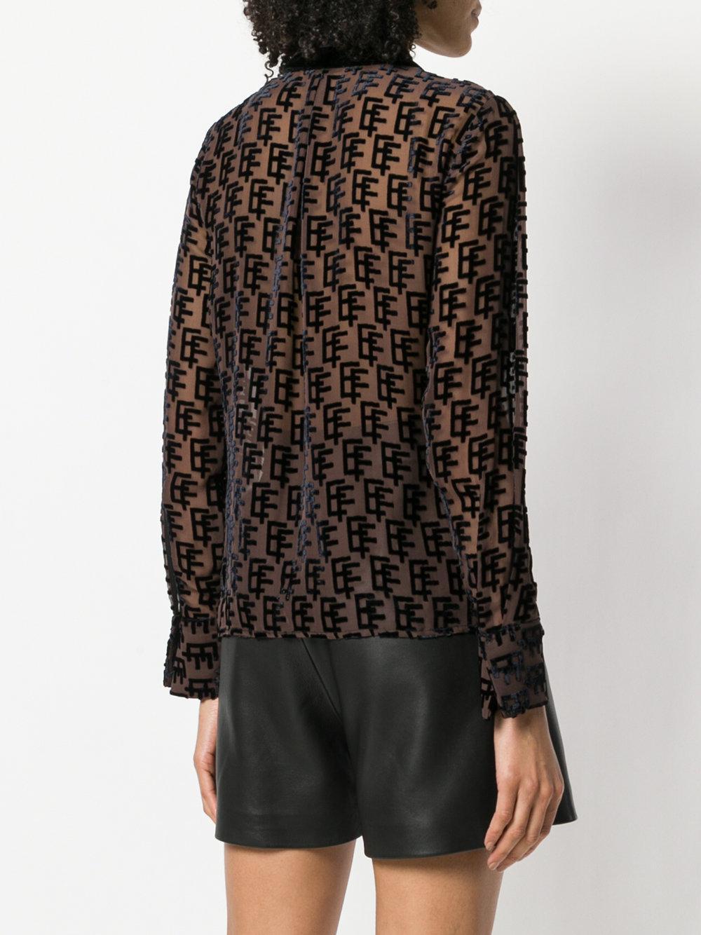 monogram print shirt - Black Elisabetta Franchi Outlet High Quality Quality JVrQuOBH