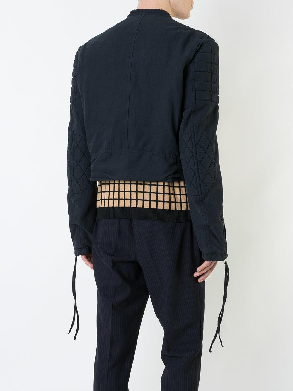 Haider Ackermann Cotton Quilted Collarless Biker Jacket in Blue for Men