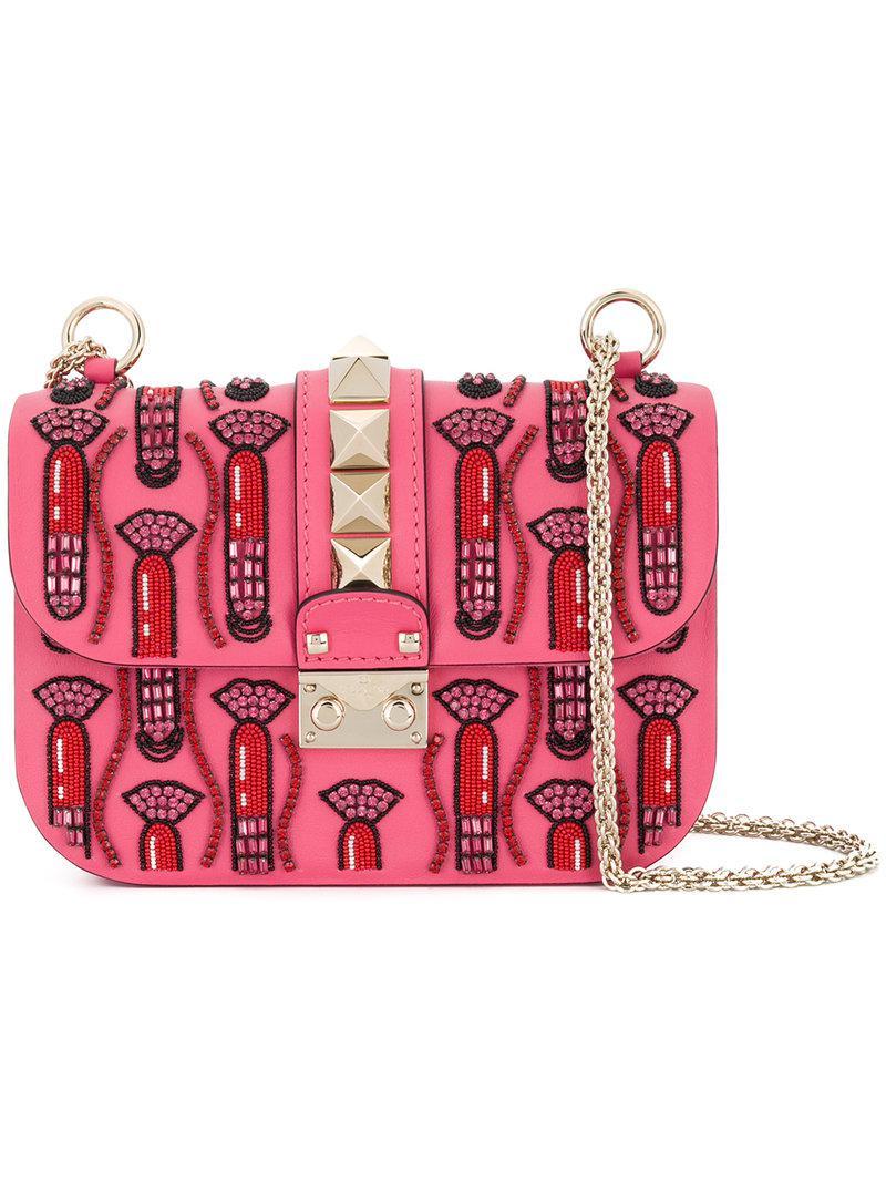Valentino Garavani Glam Lock lipstick shoulder bag - Pink & Purple Valentino ds4lTc0